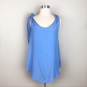 Reiss Blue Sleeveless Tie Neck Tunic Top